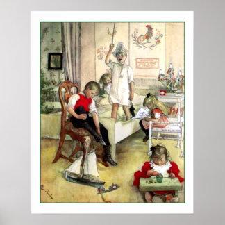 Vintage Escandinavia de la mañana de navidad de Póster