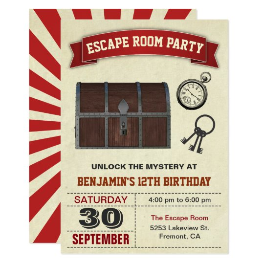 Vintage Escape Room Party Birthday Invitation