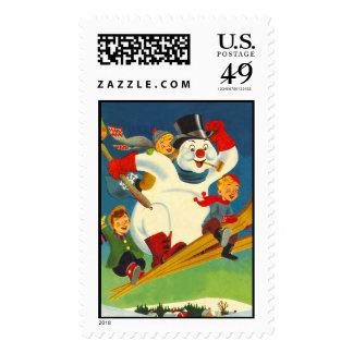 Vintage escarchado el muñeco de nieve en los sello