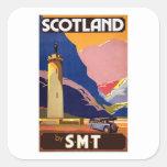 Vintage Escocia Pegatina Cuadrada