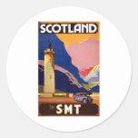 Vintage Escocia Pegatina Redonda
