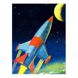 Vintage espacio Rocket de Sci Fi retro 'al Moon Postales