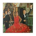 Vintage España, bailarines del flamenco Azulejo Cuadrado Pequeño