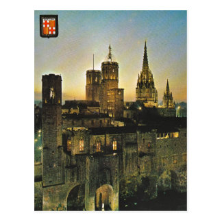 Vintage España, Barcelona en la puesta del sol Postal