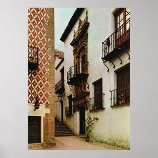 Vintage España, Barcelona, pueblo Espanol Póster
