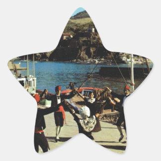 Vintage España, catalán, danza Sardane Pegatina En Forma De Estrella