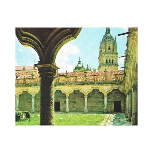 Vintage España, Salamanca, yarda de escuelas, cate Impresion De Lienzo