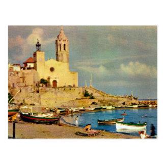 Vintage España, Sitges, catedral y costa Postal
