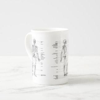 Vintage - esqueleto etiquetado - frente, parte taza de porcelana