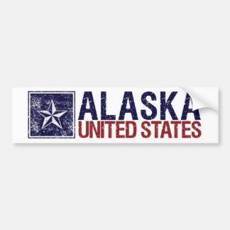 Vintage Estados Unidos con la estrella - Alaska Etiqueta De Parachoque