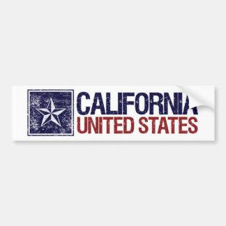 Vintage Estados Unidos con la estrella - Californi Etiqueta De Parachoque