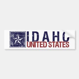 Vintage Estados Unidos con la estrella - Idaho Etiqueta De Parachoque