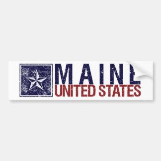 Vintage Estados Unidos con la estrella - Maine Pegatina De Parachoque