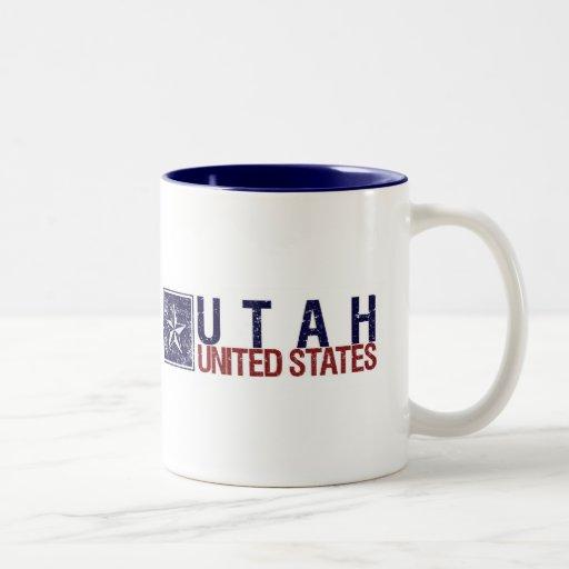 Vintage Estados Unidos con la estrella - Utah Taza De Dos Tonos