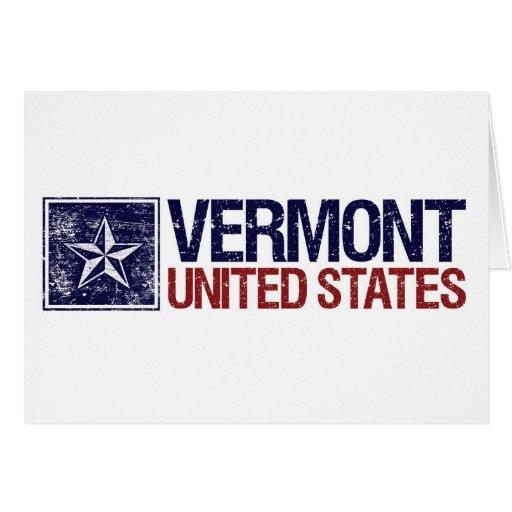 Vintage Estados Unidos con la estrella - Vermont Tarjeta De Felicitación