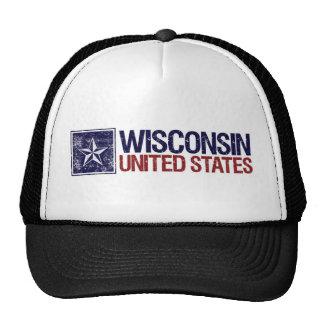 Vintage Estados Unidos con la estrella - Wisconsin Gorras De Camionero