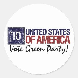 Vintage Estados Unidos del Partido Verde del voto Pegatina Redonda