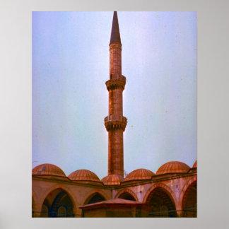 Vintage Estambul, alminar en una mezquita Póster