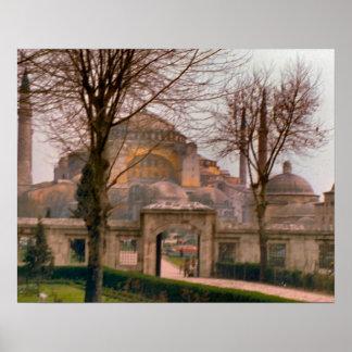 Vintage Estambul, mezquita con los alminares Póster