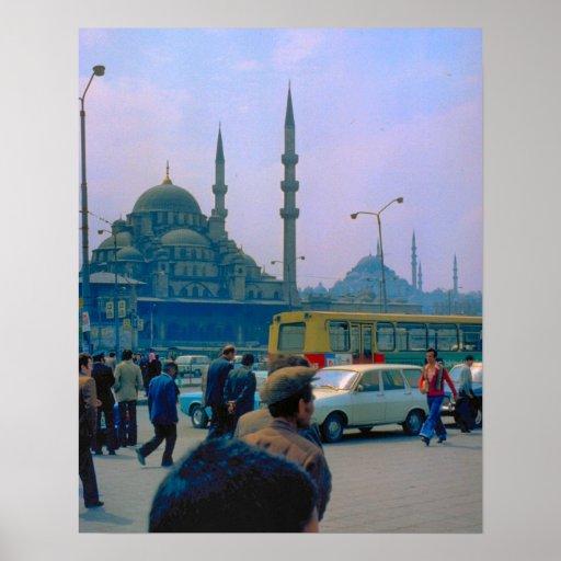 Vintage Estambul, tráfico, mezquita de Hagia Sophi Posters