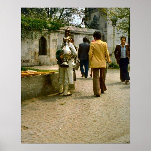 Vintage Estambul, vendedor del café turco Póster