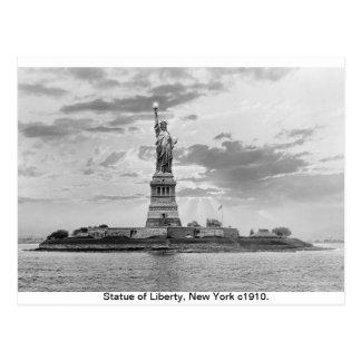 Vintage estatua de Manhattan, Nueva York de la Postal