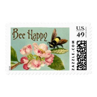 Vintage-estilo feliz de la abeja sello de 49