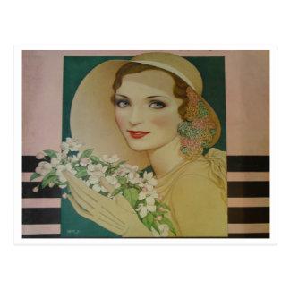 Vintage estilo mayo de 1931 tarjetas postales