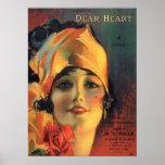 Vintage estimado Heart Poster