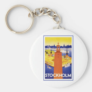 Vintage Estocolmo Suecia Llavero Redondo Tipo Pin