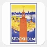 Vintage Estocolmo Suecia Pegatina Cuadradas Personalizada