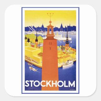 Vintage Estocolmo Suecia Pegatina Cuadrada