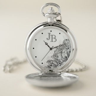 Vintage Etched Leaves and Monogram Pocket Watch
