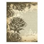 vintage etched roses design customized letterhead