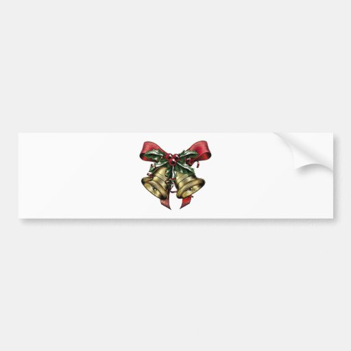 Vintage Etching Christmas Holly Bow Bumper Stickers