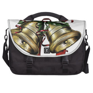 Vintage Etching Christmas Holly Bow Bags For Laptop