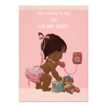 Vintage Ethnic Baby on Phone Baby Shower Chevrons 5x7 Paper Invitation Card