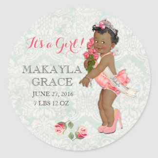 Vintage Ethnic Baby Princess Girl Customize Name Classic Round Sticker