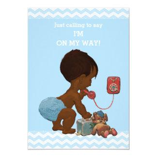"Vintage Ethnic Boy on Phone Baby Shower Chevrons 5"" X 7"" Invitation Card"