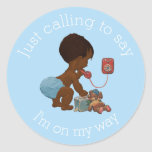 Vintage Ethnic Boy on Phone Baby Shower Classic Round Sticker