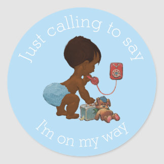 Vintage Ethnic Boy on Phone Baby Shower Classic Round Sticker