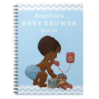 Vintage Ethnic Boy on Phone Baby Shower Guest Book