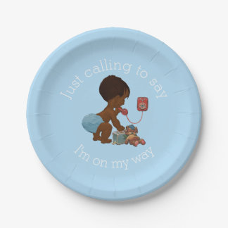 Vintage Ethnic Boy on Phone Baby Shower Paper Plate