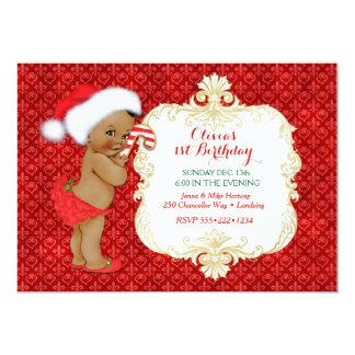 Vintage Ethnic Christmas Baby Girl Birthday Shower Card