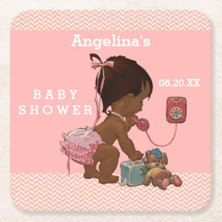 Vintage Ethnic Girl on Phone Baby Shower Chevrons Square Paper Coaster