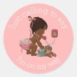 Vintage Ethnic Girl on Phone Baby Shower Classic Round Sticker