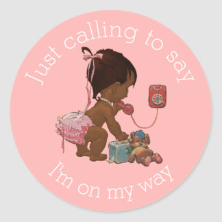 Vintage Ethnic Girl on Phone Baby Shower Classic Round Sticker