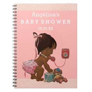 Vintage Ethnic Girl on Phone Baby Shower GuestBook Notebooks