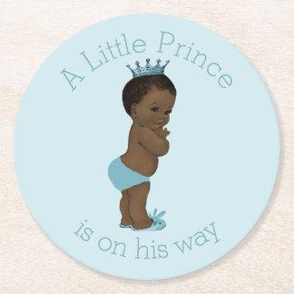 Vintage Ethnic Little Prince Baby Shower Blue Round Paper Coaster