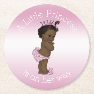 Vintage Ethnic Little Princess Baby Shower Pink Round Paper Coaster